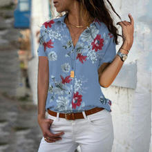 2019 Floral Print Women Shirts Summer Casual V-neck 5XL Large Size Chiffon Blouses Women's Top Short Sleeve Blouse Femme Shirt