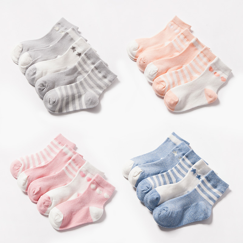 New 5pairs/lot Spring Summer new Kids Cute Infant Baby Socks Boy Girl Ultrathin Casual Mesh Socks Children cotton Socks 1-10year