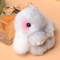 Luxury Genuine Mink Fur Bunny Keychain Cute Rabbit Key Rings Women Handbag Charms Pendant Key Chains Holder Jewelry Chaveiro