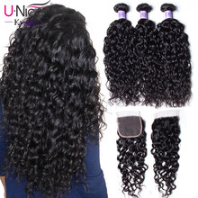 UNice Hair Kysiss Series Water Wave Brazilian Vrigin Hair 3 PCS Bundles with Closure Human Hair Weaving Bundles with Closure(China)