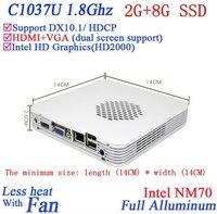 קידום מכירות מיני מחשב Win XP/7 עם Celeron 1037U הליבה כפולה 1.8 GHZ מעבד HD Graphics DX10.1 HDCP תמיכה 2 גרם RAM 8 גרם