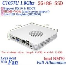 Рекламные мини-компьютер Win XP/7 с Celeron 1037U dual core 1.8 ГГЦ ПРОЦЕССОР HD Graphics DX10.1 поддержка HDCP 2 Г ОЗУ 8 Г