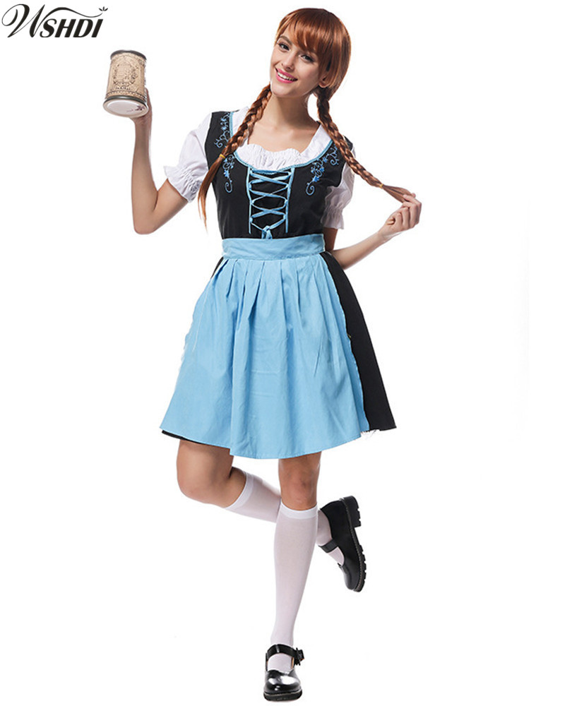 Women Blue Sexy Beer Maid Costume German Oktoberfest Wench Maiden Bavarian Heidi Dirndl Fancy Dress Cosplay Halloween Costume