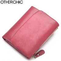 Genuine Leather Women Short Wallets Sheep Skin Small Soft Trifold Wallet Purse Card Wallet Female Purses