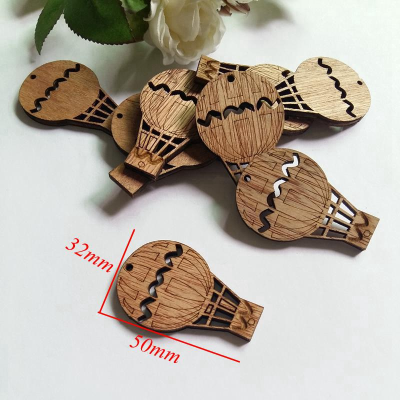 30pcs 30mm*32mm hot air balloon Wood Chips/ buttons Scrapbooking Decor Home Shop Hanging Tags Crafts Gift
