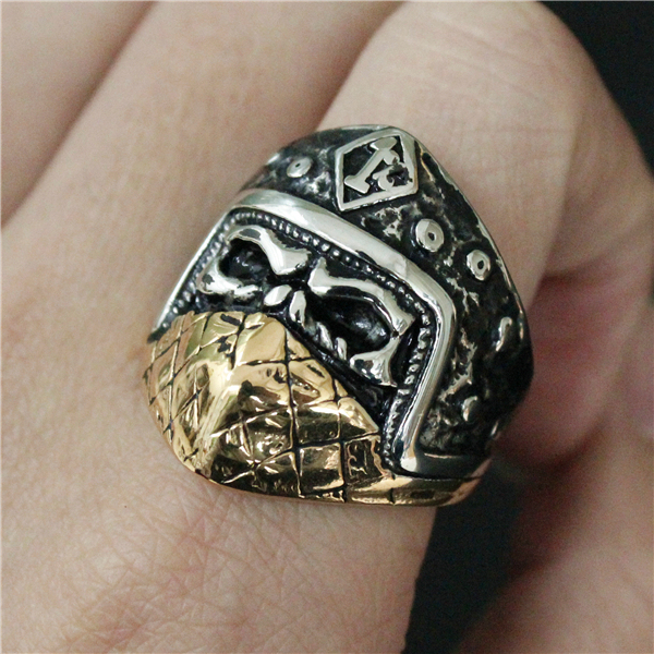STAINLESS STEEL 1% GOLDEN MASK SKULL RINGS