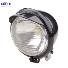 GOOFIT 12V Headlight Halogen Light Chrome Motorcycle Replacement Bulb for Scooter ATV Bike J065-873