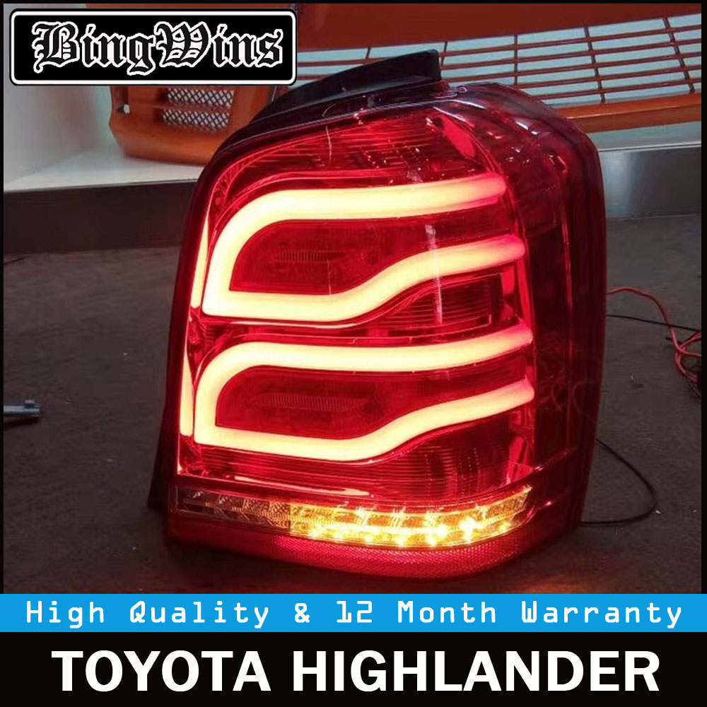 Car Tail Lights For Toyota Highlander Kluger 2001-2007 LED Strip Tail Light Rear Lamp with LED DRL+Reverse+Signal Back light