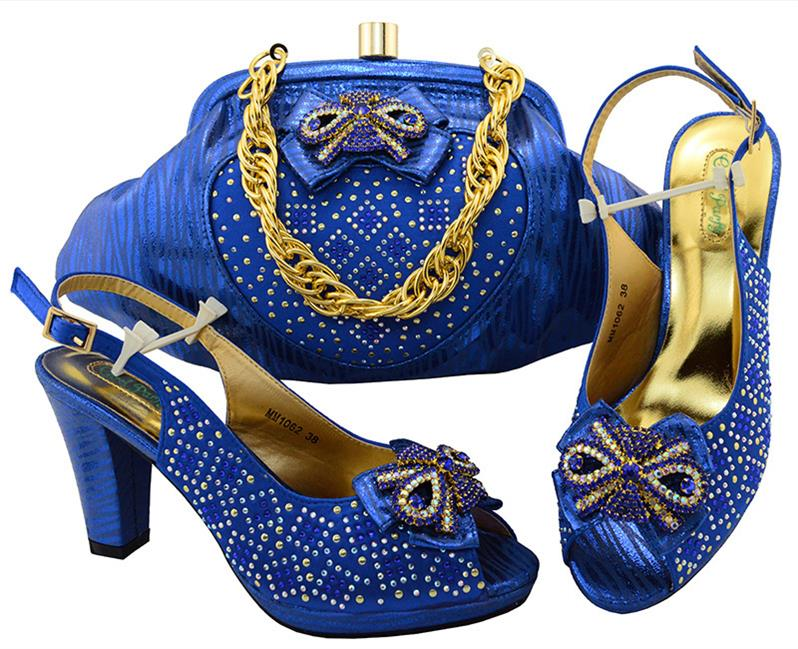 Королевский Голубой цвет Женская итальянская обувь и сумочка для итальянский комплект Женская обувь Праздничные туфли-лодочки Супер Высок...