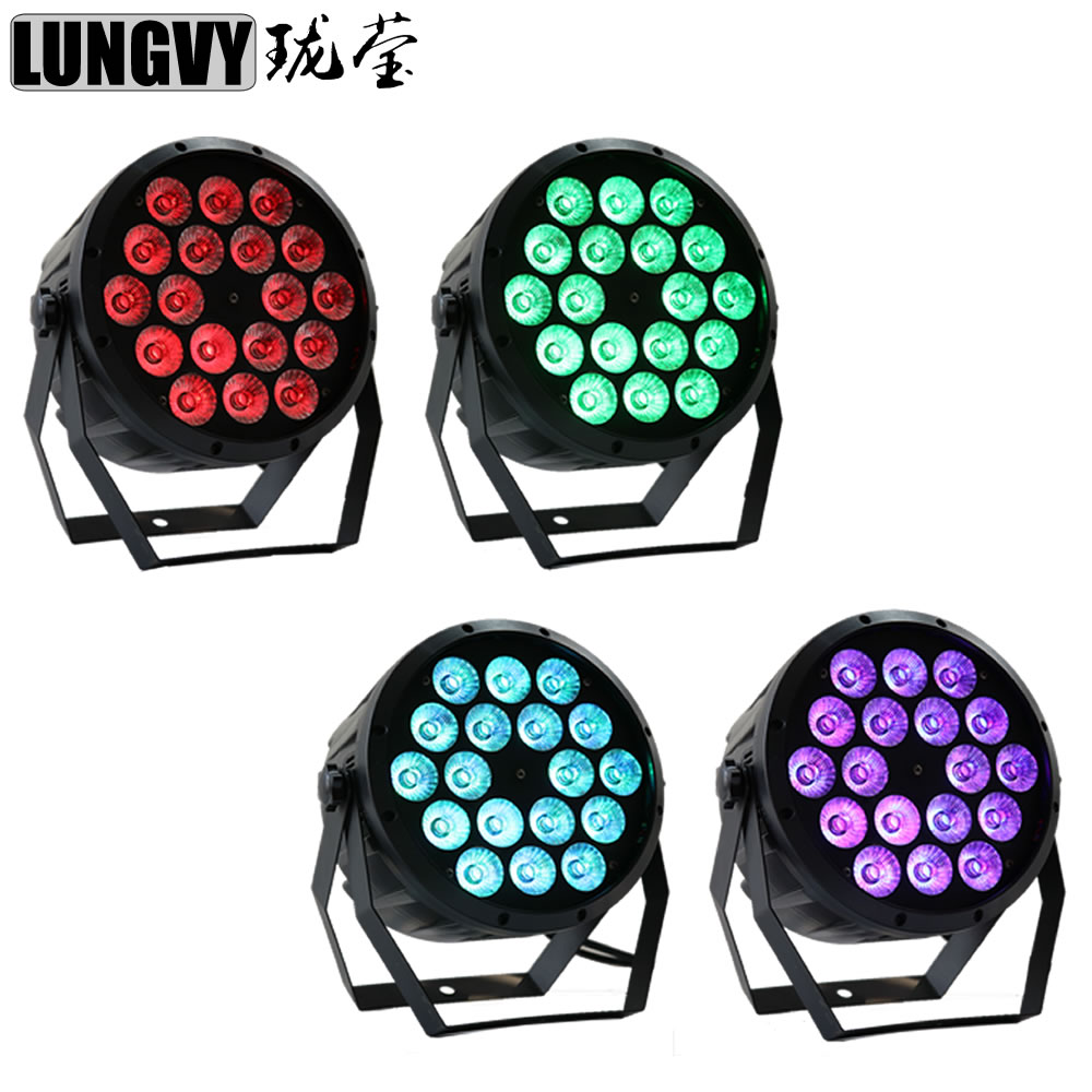 Free Shipping 4pcs/Lot 18X10W 4in1 RGBW Flat Plastic Led Par Light 4/8CHs For Party DJ Disco Stage free shipping 2 lot 18x10w led par64 led par 64