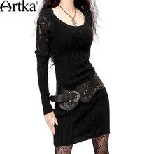 Artka das mulheres do vintage elegante recorte de renda crochê outono e inverno lã de ovelha de malha one piece-vestido l010058q