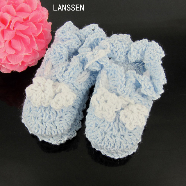 1 Pairs Small Handmade Crochet Booties Baby Shower Favors Baptism Baby  Shower Decorations Long70 X Wide30
