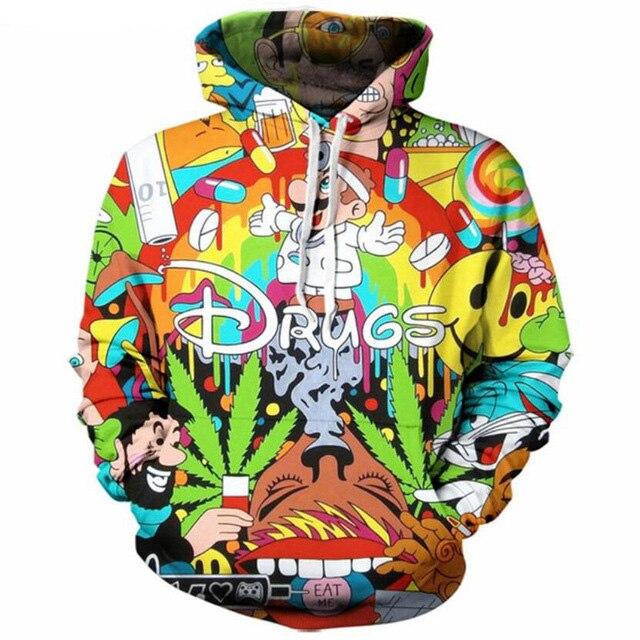 Jumeast Men/Women 2018 Autumn New Style 3d Hoodies Cartoon Super Mario 3D Print Hoodie Sweatshirt Funny Drugs Casual Pullovers