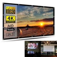 New 100/120/136/150 inch Foldable HD Movie Projector Screen White for projector Background Cloth