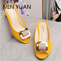 MIN YUAN New Fashion Open Toe Women Summer Sandals Crystal Thick Heel Rhinestone Slippers Middle Aged Women Slides Big Yards