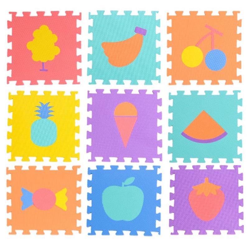 JCC 9pcs Baba EVA hab Puzzle Játék Mat / Gyümölcsoktatás Szőnyeg és szőnyeg blokkoló gyakorlatok padlóburkolatok gyerekeknek