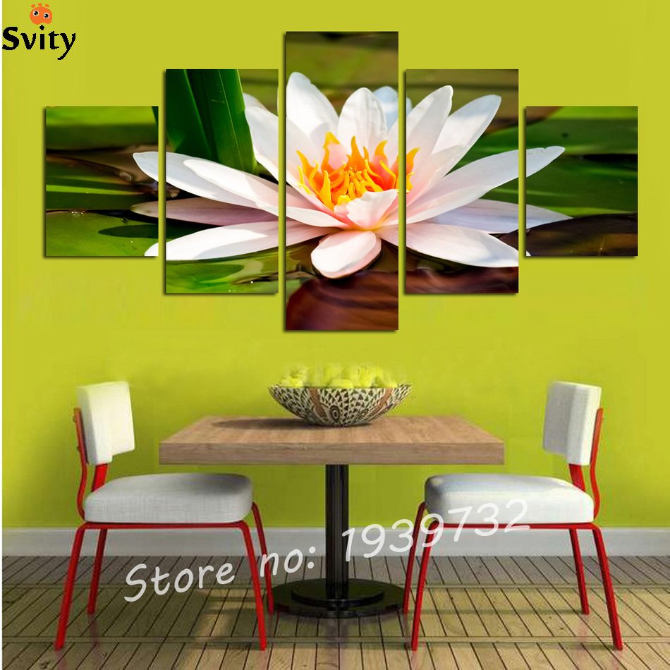 5 pieces Lotus Pool Floral Canvas Wall Art Painting Home Decor for ...