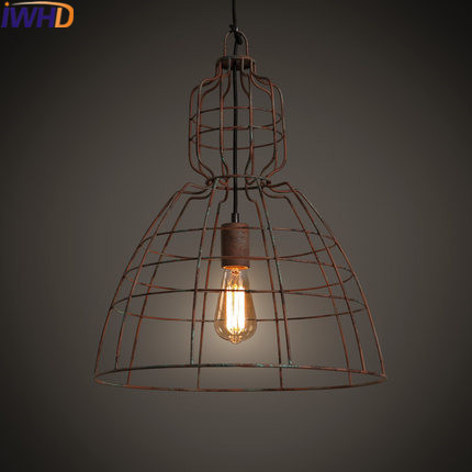 IWHD Retro Industrial Pendant Lamp Style Loft Retro Iron Hanging Lamp Rusty color Cage Lamparas Home Lighting Fixtures Luminaire 10pcs wholesale price d80mmxh300mm black iron long cage industrial pendant lamp vintage brass socket lighting fixtures for home