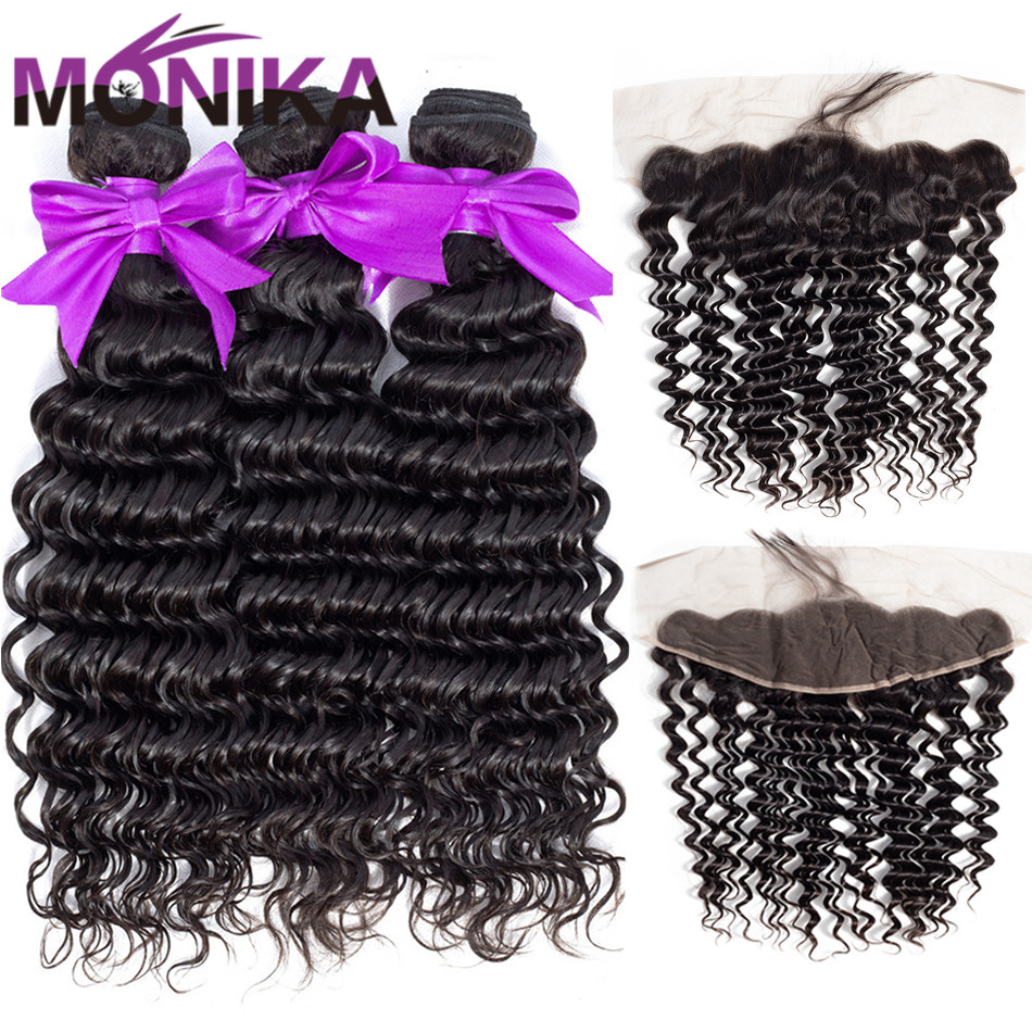 Monika Hair Deep Wave Frontal With Bundles Human Hair 4/ 3 Bundles With Closure Non Remy Malaysian Hair Bundles With Frontal