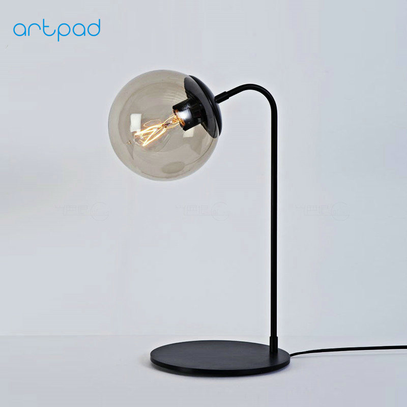 Artpad Modern Industrial Antique Retro Desk Lamp Glass Lampshade AC110-220V Metal LED Bedside Lights for Study Office Student north european style retro minimalist modern industrial wood desk lamp bedroom study desk lamp bedside lamp