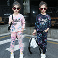 Fashion Scrawl Teen Children's Sets 2016 New 2 pcs T-shirt & Pants Girls Girl Clothing Sets Kawaii Teens Baby Girls Sports Sets