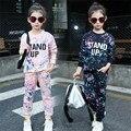 Moda Rabisco Adolescente Conjuntos infantis 2016 Novo 2 pcs T-shirt & calças Conjuntos de Roupas Meninas Menina Kawaii Adolescentes Meninas Do Bebê Conjuntos Esportivos