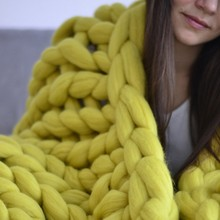 Thumb thick wool blanket Handmade Blanket Soft Warm Solid Color Practical High Quality Durable Winter