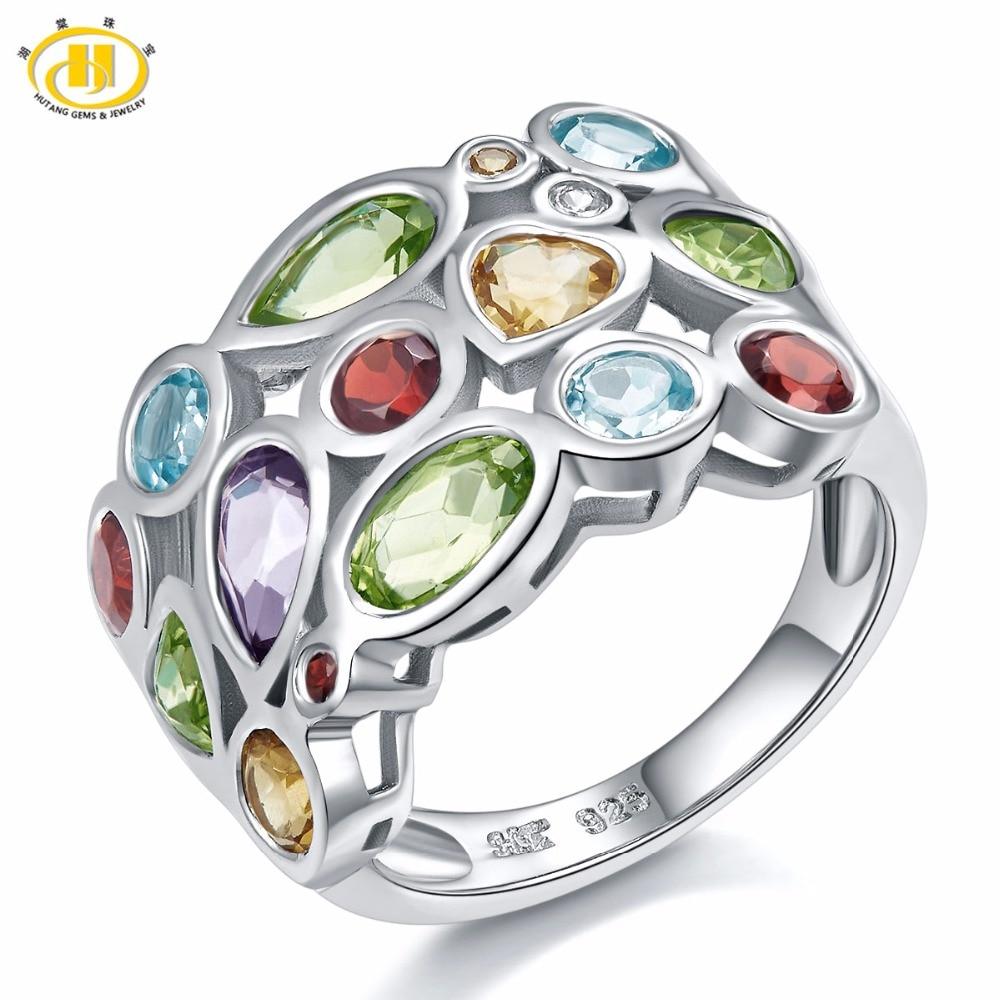 Hutang マルチ宝石の女性のリング本物のトパーズガーネットシトリン 925 スターリングシルバークラスターリングためのエレガントなジュエリーギフト  グループ上の ジュエリー & アクセサリー からの 指輪 の中 1