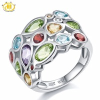 Genuine Multi Color Gemstones Solid 925 Sterling Silver Cluster Ring For Womens Jewelry Gift