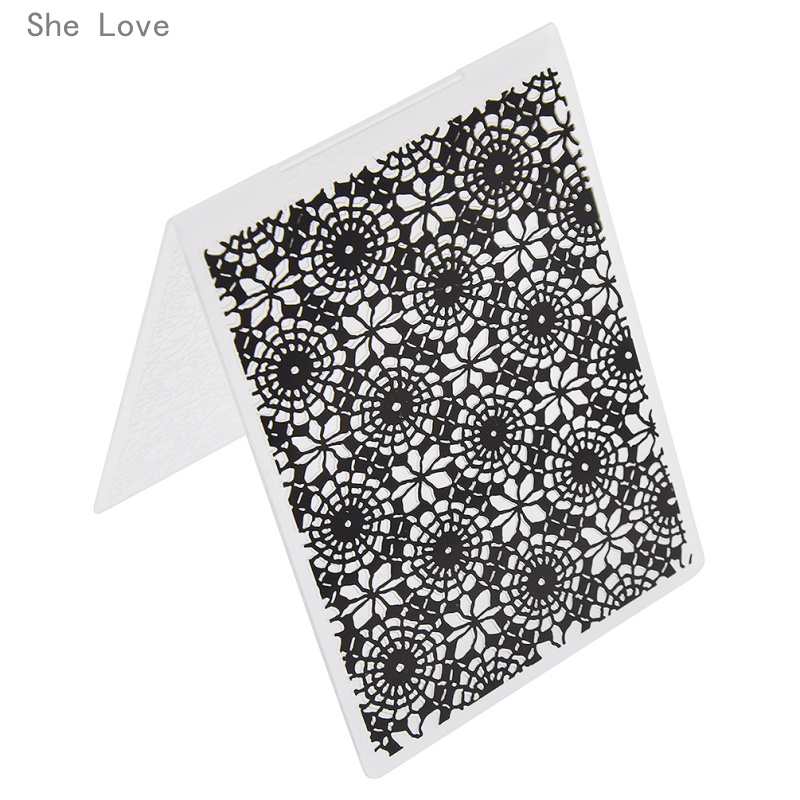 She Love Plastic Embossing Folder For Scrapbooking Lace Circle Template Photo Album Paper Card Decoration plastic standing human skeleton life size for horror hunted house halloween decoration