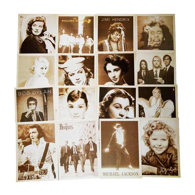 MIRUI Vintage Movie Stars Drawing Business card Post Card Set women adult Christmas Card Gift Postcards Greeting Cards