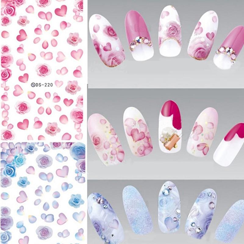 купить Flower Rose Petals Water Decals Nail Art Transfer Sticker Birth Flower Nail Decoration Sticker Water Slide Nail Tips Stickers по цене 28.78 рублей