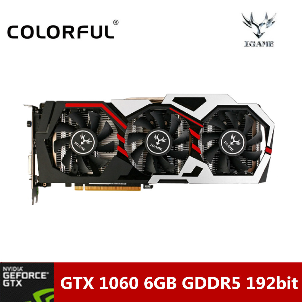 D'origine iGame Coloré 1060 U-6GD5 Top 192bit GDDR5 Graphiques De Jeu carte GeForce GTX 1060 avec HDMI/DVI/DP 1.4 Interface