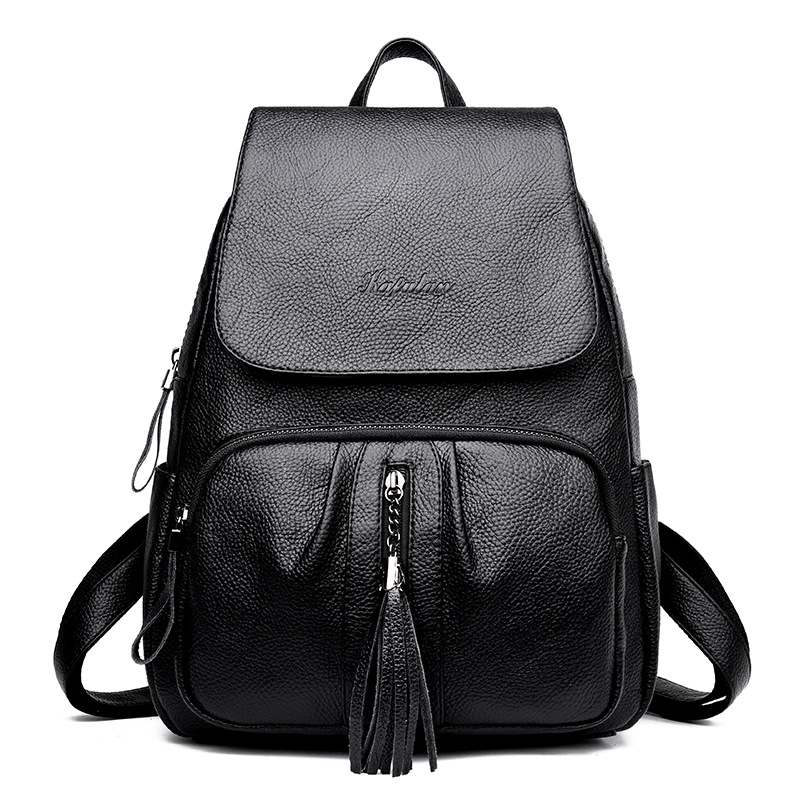 Fashion Tassel Genuine Leather Women Backpack Casual School Bags For Teenagers Girls High Quality Female Travel BackPacks все цены