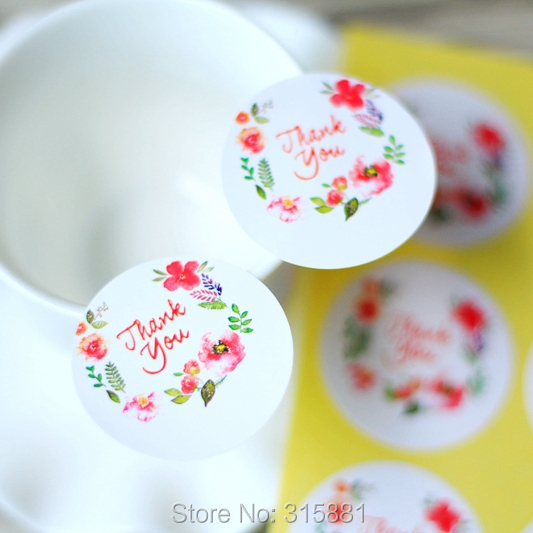 thank you stickers floral thank you label wedding favor sticker