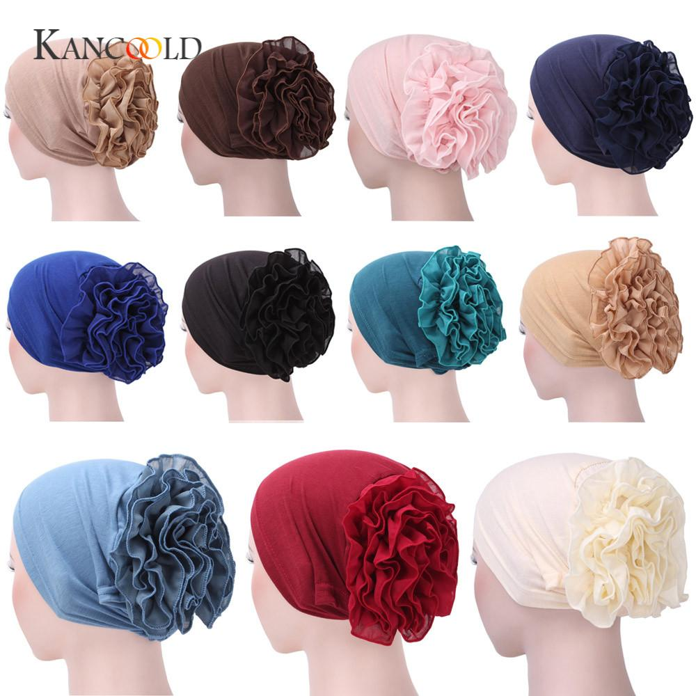 KANCOOLD Bandanas Wrap Cap Women Flower Muslim Stretchable Ruffle Cancer Chemo Hat Beanie Scarf Turban Head Wrap Cap JAN29