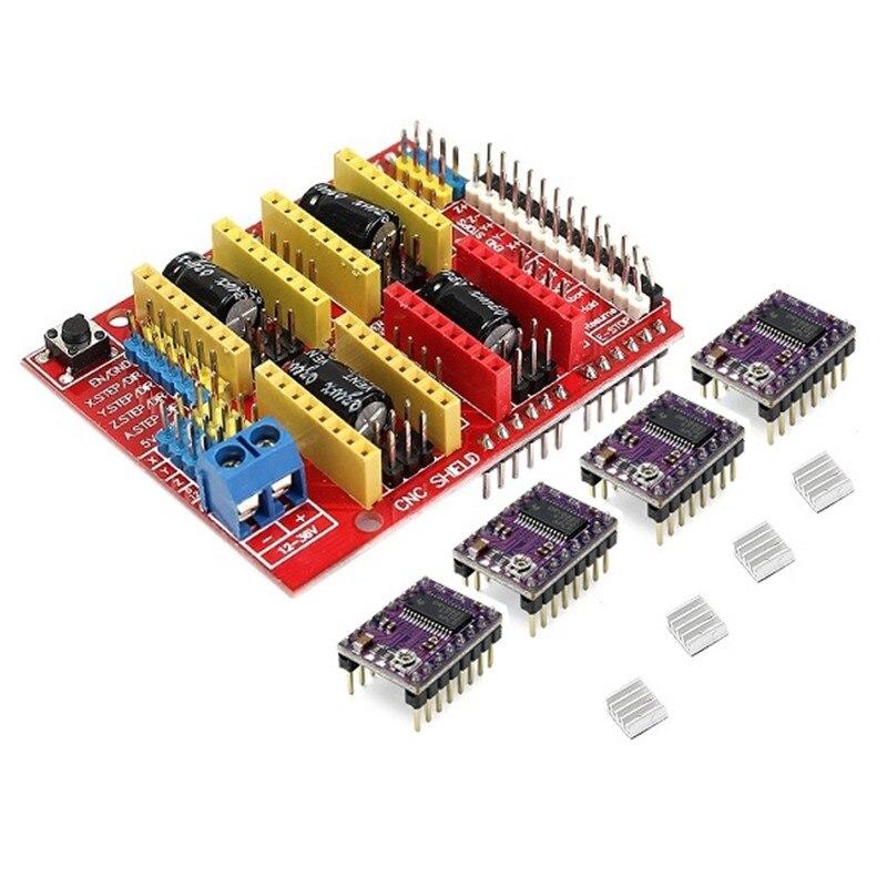 1pc CNC Shield + 4 X DRV8825 Driver Kit For-Arduino 3D Printer Module Board