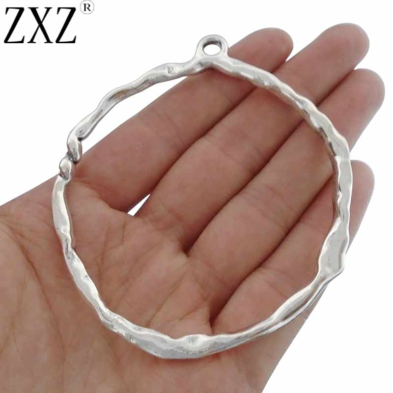 ZXZ 2pcs Antique Silver Large Hammered Open Circle Ring Charms Pendants for Jewelry Making Findings 82x71mm