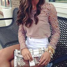 2016 Women Long Sleeve Spring Chiffon Blouse Hollow out Lace Women Blusas Plus Size Blouse S