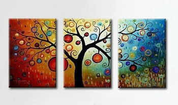 Hand-painted Abstract Oil Painting with Stretched Frame - Set of 3 Floral Oil Painting Wall Art-Modern Canvas Art Wall Pictures