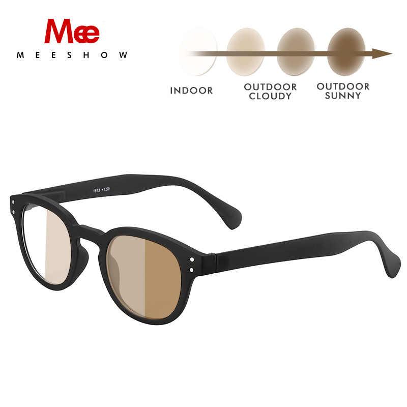 MEESHOW フォトクロミック女性男性サングラス近視光学フレーム老眼鏡ラウンド眼鏡レトロ高品質メガネ