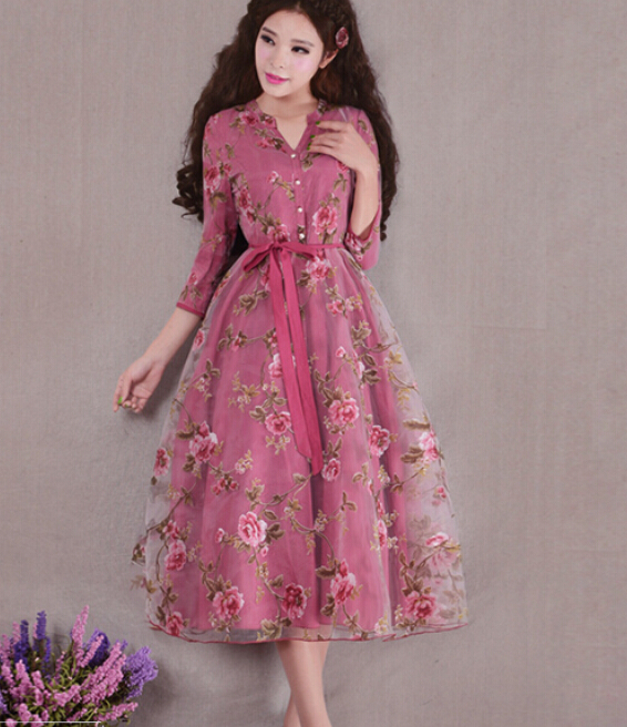 Free Shipping High Quality Plus Size S XXXL Thicken Sweety Flower Printed Flare Sleeve Woman Long Dress