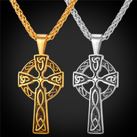 Viking Cross Pendant Necklace Vintage Jewelry Gift Stainless Steel 18K Real Gold Plated Chain Necklace Men