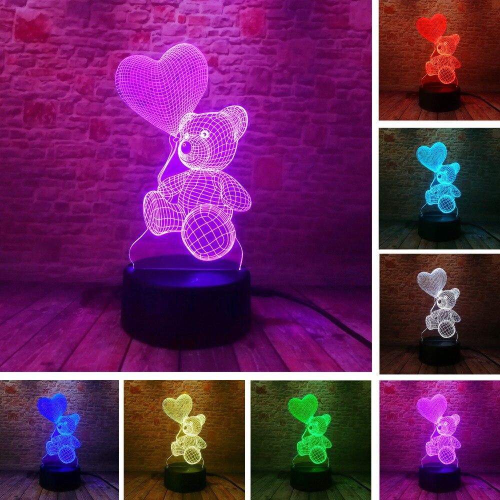 Bébé Enfants Nuit lampe 3d lampe couleur led Changement Capteur led Ours Nuit Lumière Coeur Ballon La Maison Chambre Décoration Meilleur Cadeau D'enfant