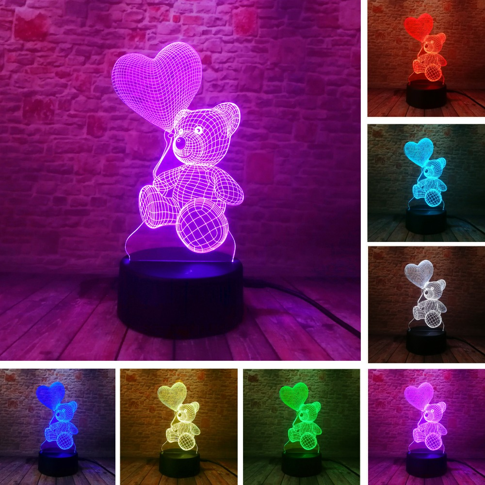 Baby Kids Night 3D Lamp LED Lighting Color Change Sensor LED Bear Night Light Heart Balloon Home Room Decoration Best Child Gift