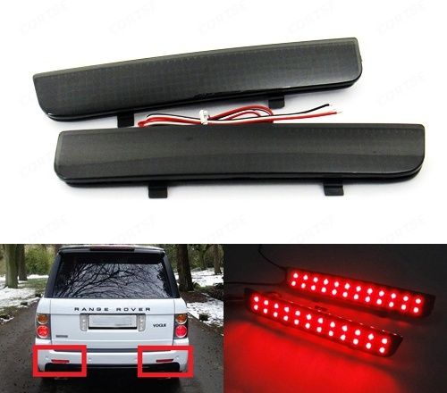 CYAN SOIL BAY Black Smoked Bumper Reflector LED Rear DRL Brake Stop Light L322 For Land Rover Range Rover LR2 Freelander car rear trunk security shield cargo cover for land rover freelander 2 lr2 2006 2017 high qualit black auto accessories