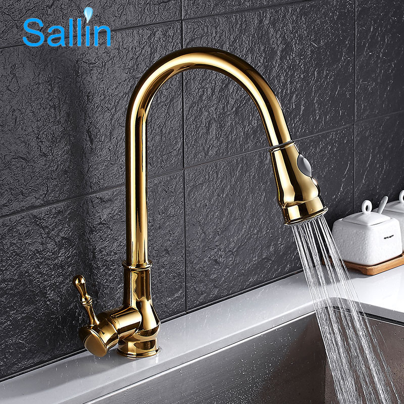Gold Kitchen Faucet Pull Out Brass Kitchen Tap Single Handle Spray Head Brushed Kitchen Sink Water Tap Mixer Crane classic pull out kitchen mixer tap of single handle single hole kitchen faucet with hot cold solid brass kitchen sink water tap