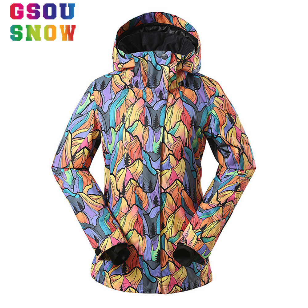 Gsou Snow Brand Winter Snowboard Jacket For Women Waterproof 10000 Windproof Colorful Printed Female Sports Outdoor Ski Jacket
