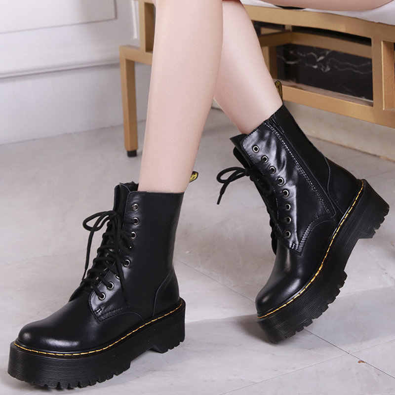 05317da717 Hot New Women Winter Wool Big Size Leather Boots Female Sponge Cake Thick  Soft Bottom Martin Boots Ladies Cowhide Knight Boots