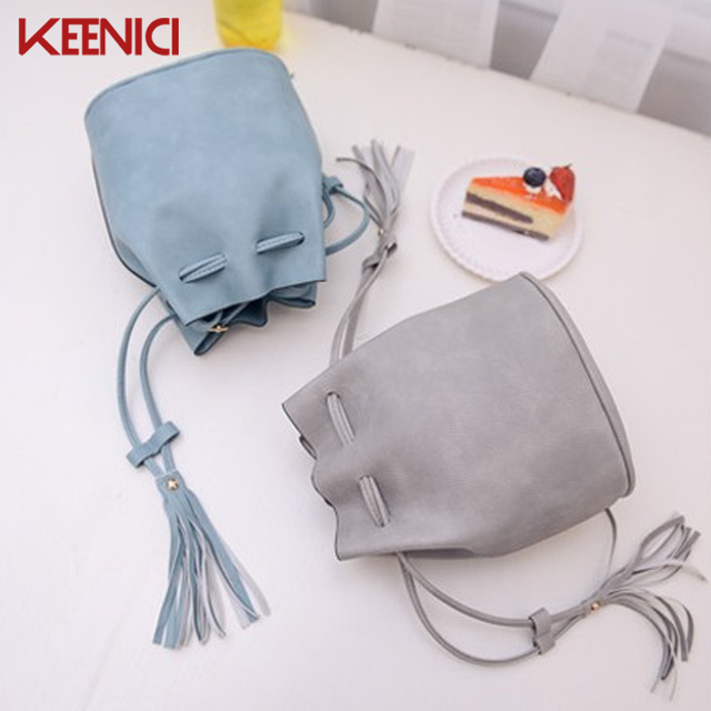 Women PU Leather Drawstring Bucket Bag Women Vintage Handbag Faux Fringe Tassel Shoulder Crossbody Bags Lady Messenger Bag
